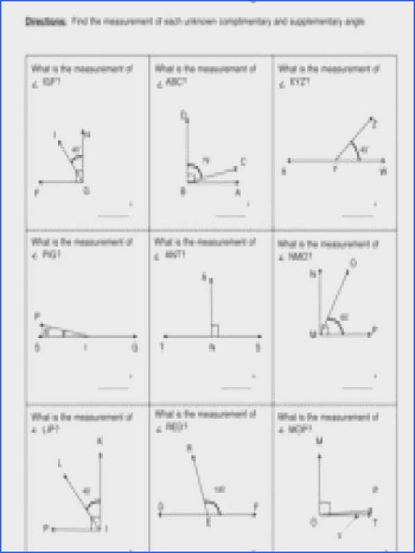 MD 7 mon Core Worksheet Find the measurement of each unknown plimentary