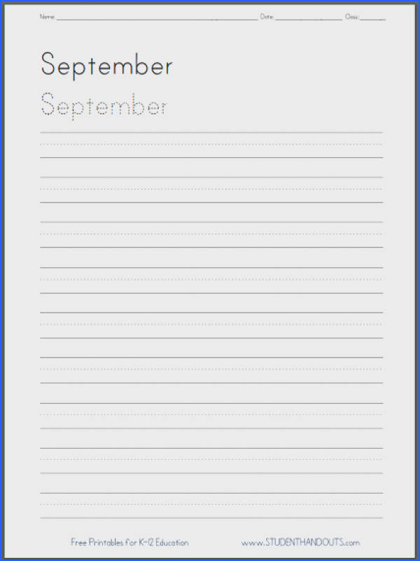 Months of the Year Handwriting Worksheets