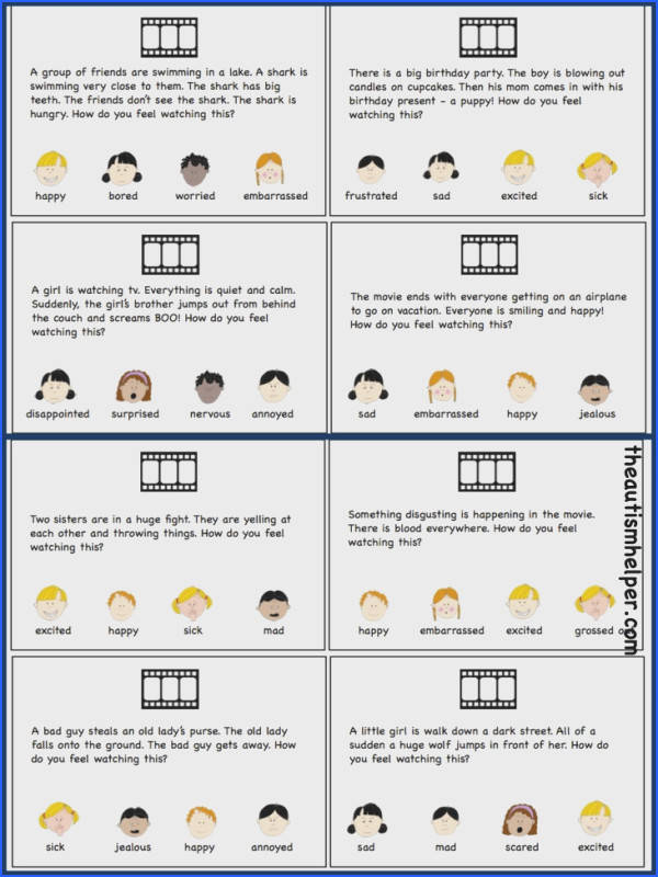 Movie Theater Inferences work on inferring emotions through this fun game freebie