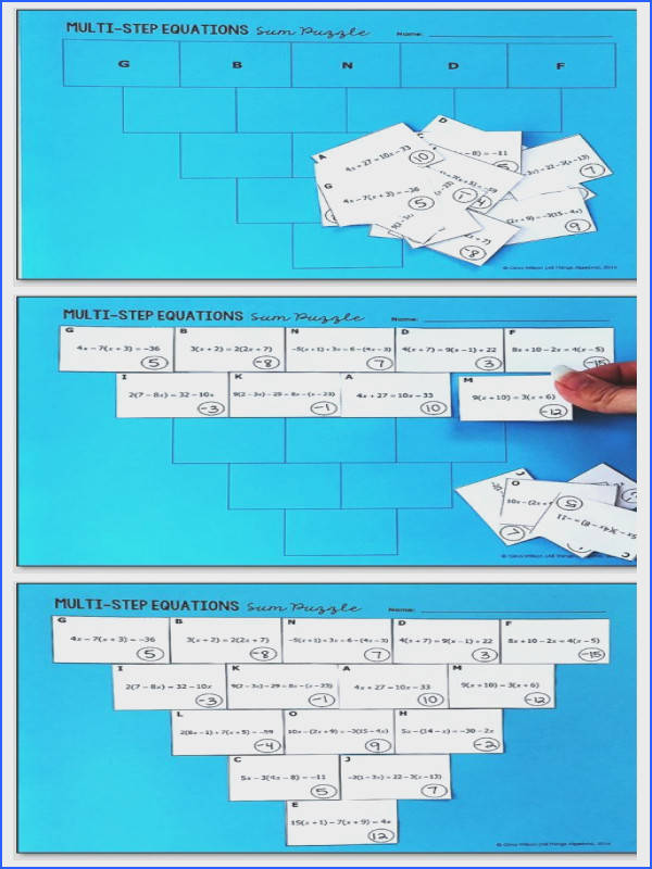 Multi Step Equations Pyramid Sum Puzzle Students will practice solving multi step equations with