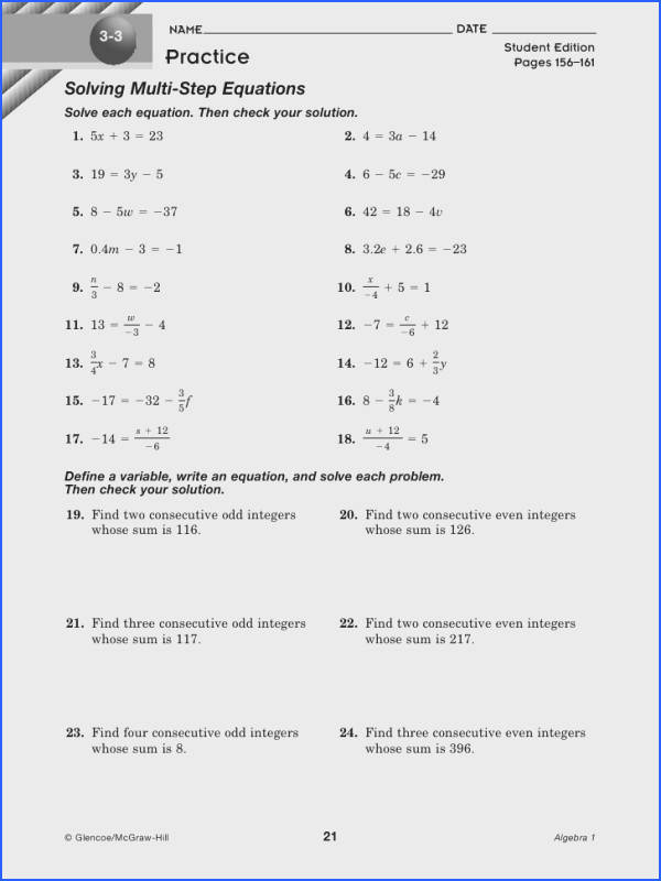 e Step Equation Worksheets Word Problems