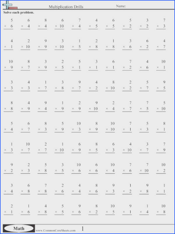 Multiplication Drill Sheets To Print 2 50 Problems