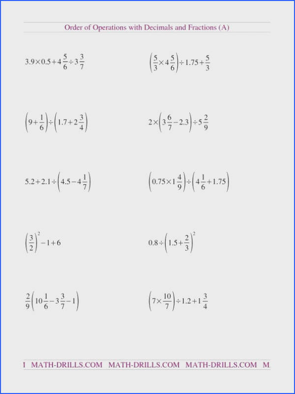 decimals and fractions mixed a order of operations worksheet ooo fractions decimals 00 an image part of multiplication