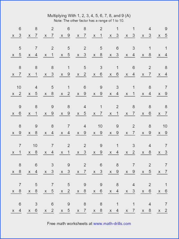 Multiplication Worksheet 100 Vertical Questions Multiplication Facts 1 9