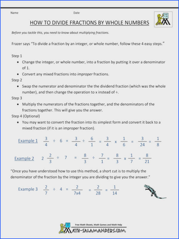Multiply Fractions By Whole Numbers Worksheet Dividing Fractions By Whole Numbers Multiply Worksheet How To