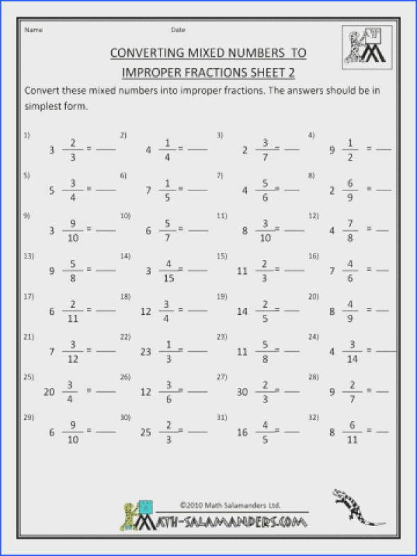 Math Worksheets Dividing Fractions And Whole Numbers Printable Fraction Convert Mixed To Impropert By Division