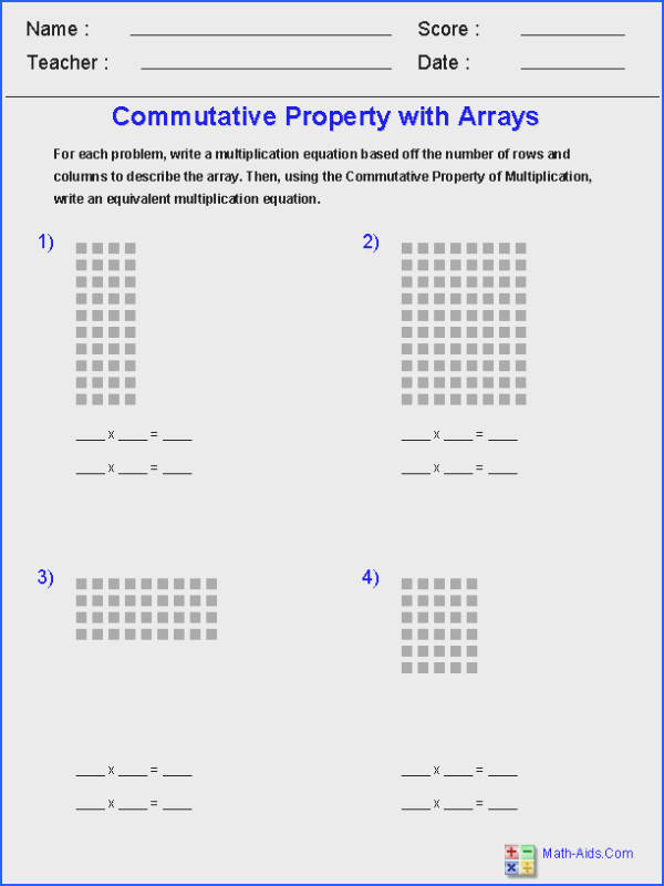 mutative Property of Multiplication br with Arrays Worksheets