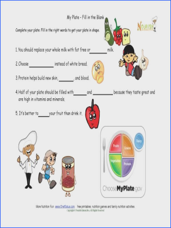 My Plate Healthy Tips For KIds Fill in the blank My Plate