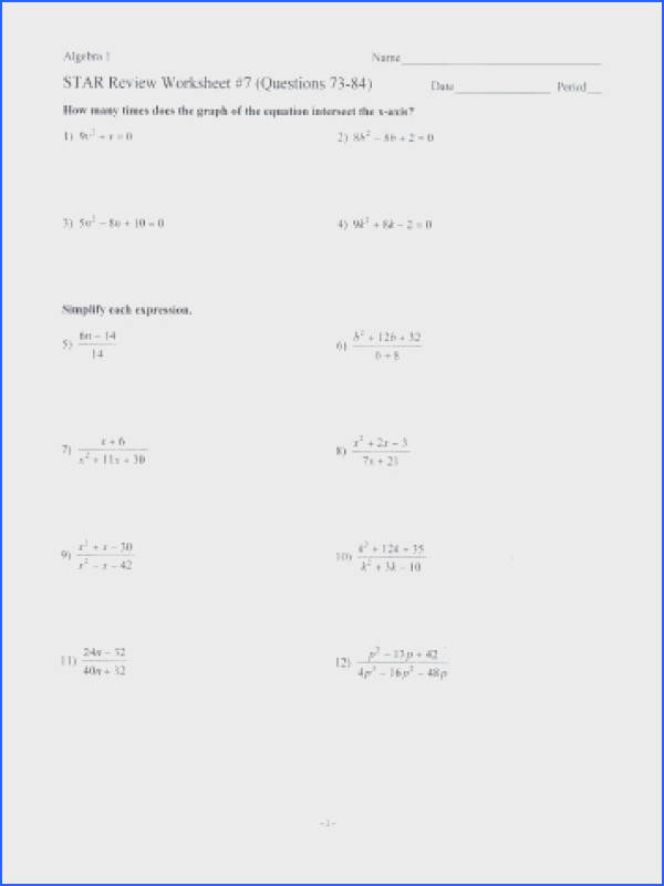 STAR Review Worksheet 7 Questions 73 84 Date Period