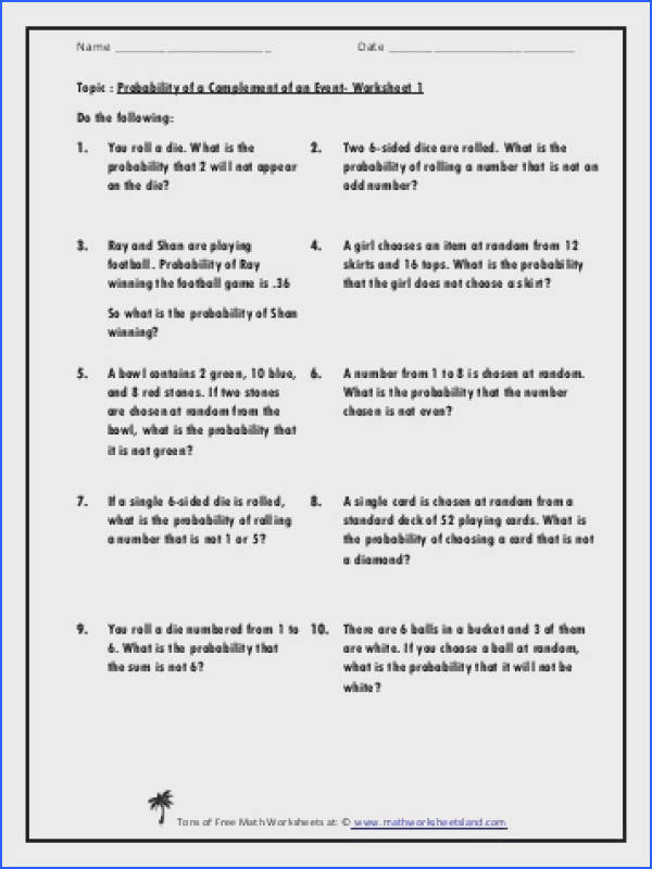 Probability the plement of an Event Five Worksheet Pack Math