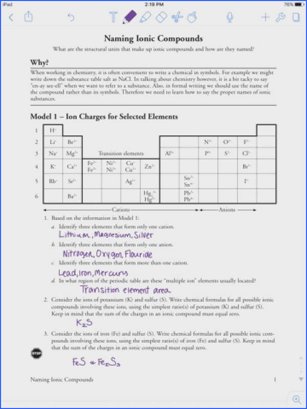 naming chemical pounds worksheet pogil naming ionic pounds aubrey stewarts chemistry work