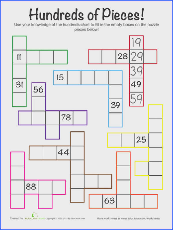 First Grade Counting Worksheets Hundreds Chart Challenge