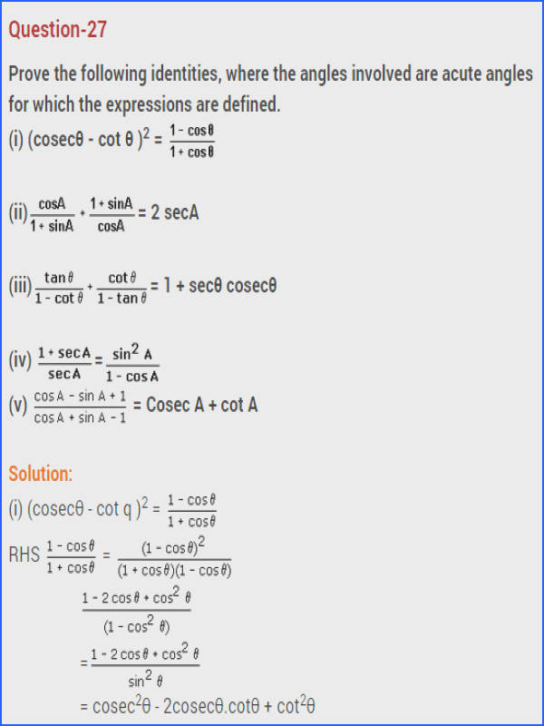NCERT Solutions For Class 10 Maths Chapter 8 Introduction to Trigonometry