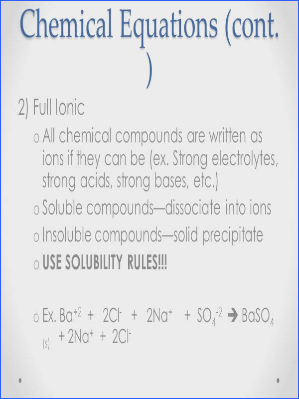 Chemical Equations cont