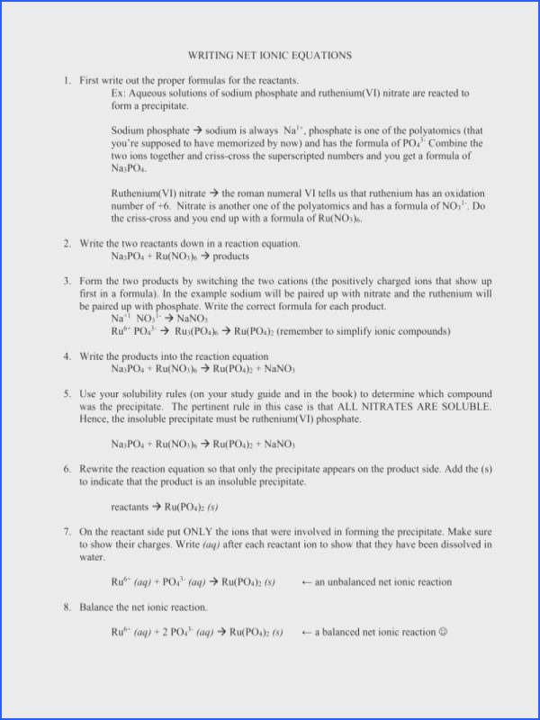 Net Ionic Equations Worksheet With Answers Checks Worksheet
