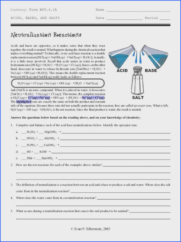 Neutralization Reactions Worksheet for 9th 12th Grade