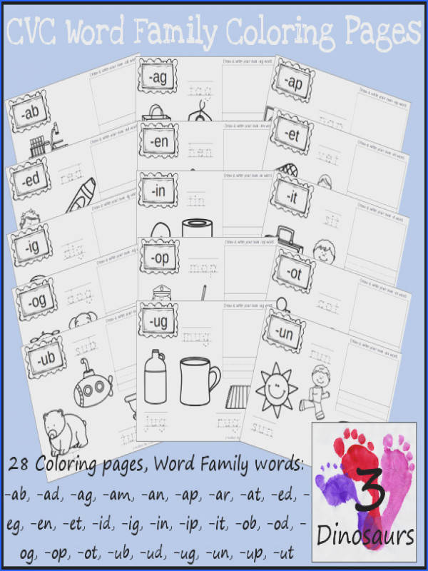 These CVC Word Family Coloring pages have been lots of fun at our house This is the second set of the coloring pages to e out Kindergarten Phonics