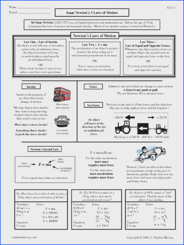 newton s laws of energy worksheet Google Search