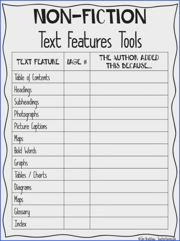 Non Fiction text feature chart to improve reading prehension TeacherKarma