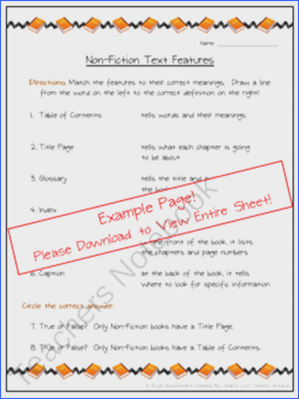 Non Fiction Text Features Matching Worksheet product from Just Tinkerin Around on TeachersNotebook