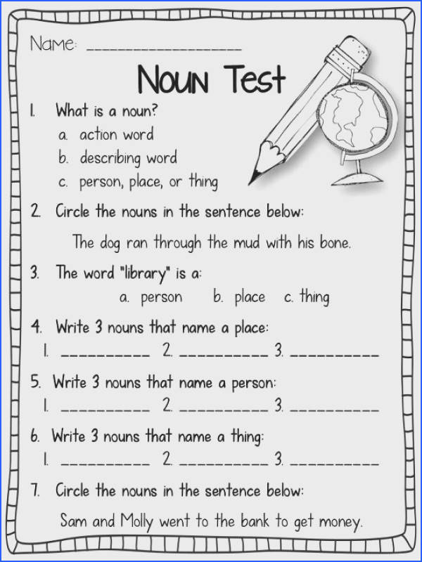 Nouns test for 1st Graders Goes over various types of nouns