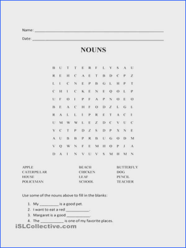 NOUNS WORD SEARCH PUZZLE