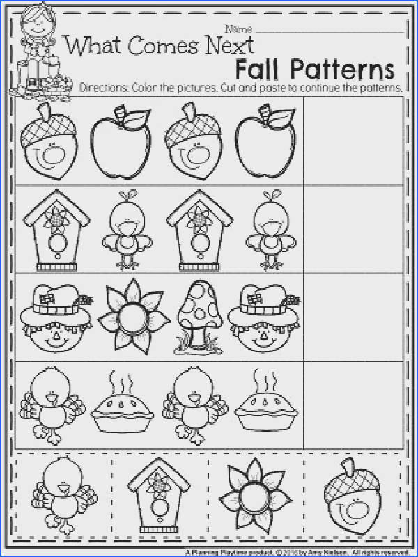 Fall Preschool Worksheets for November What es next fall patterns