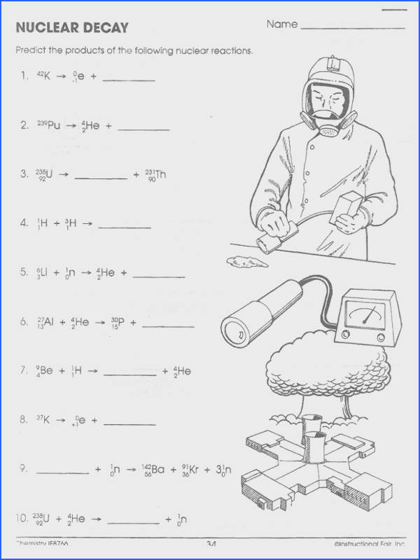 Nuclear Decay Equations Worksheet Free Worksheets Library