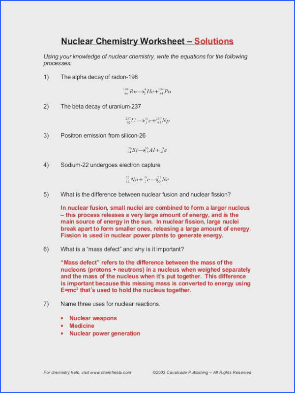 Alpha Decay Worksheet Worksheets For All Download And
