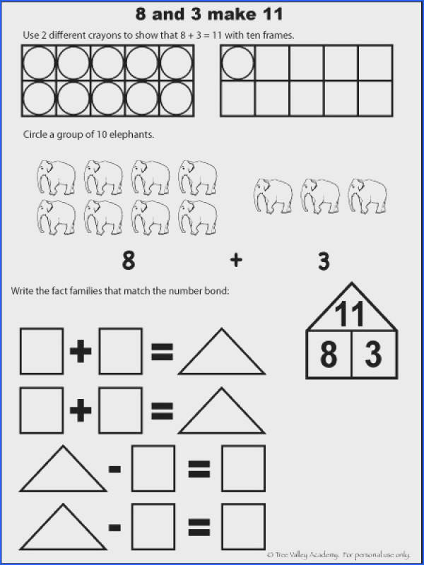 Free math worksheets for kids The number 11 addition with ten frames fact