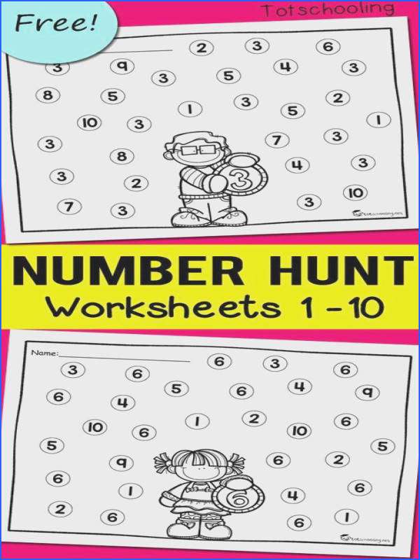 FREE worksheets for toddlers and preschoolers to learn numbers and number recognition Use with dabber