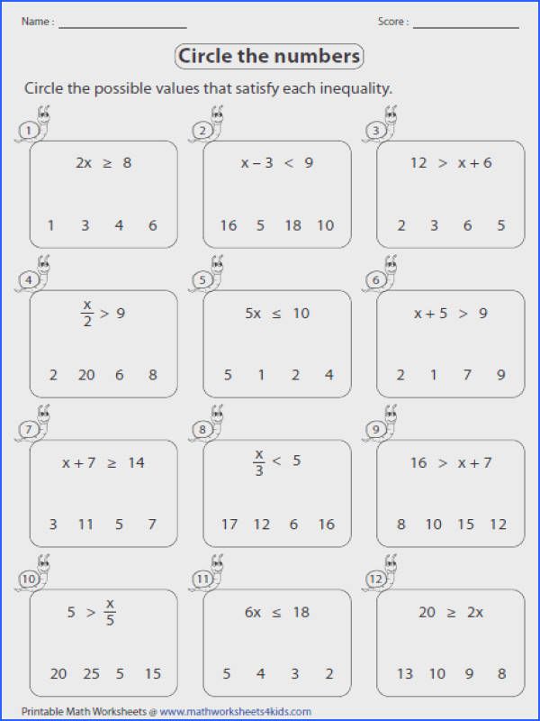 leveled worksheets for one step inequalities involving addition subtraction multiplication and division