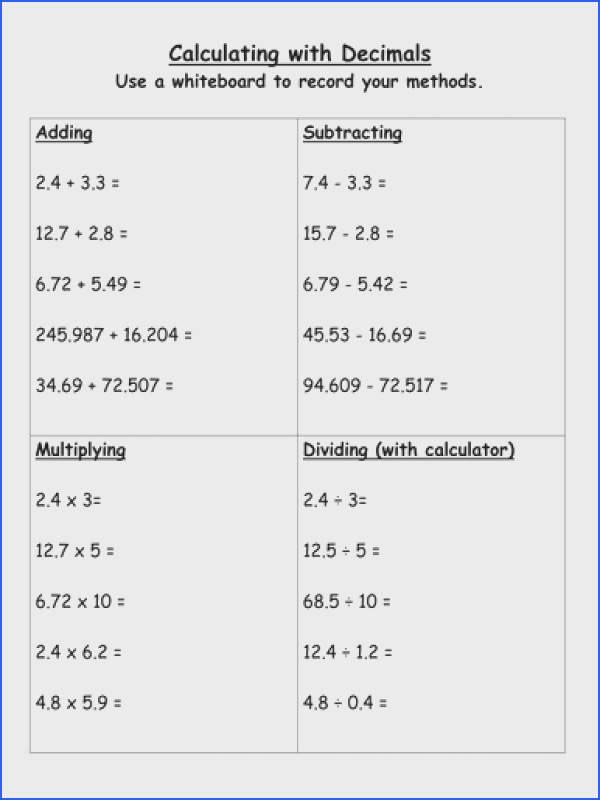 Decimals Add Subtract Multiply Divide By Stericker Teaching