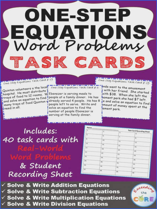 ONE STEP EQUATIONS Word Problems TASK CARDS Have your students apply their understanding of