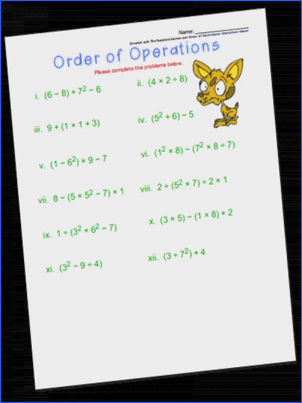 The Order of Operations Worksheet Maker will generate a printable worksheet of problems and an answer