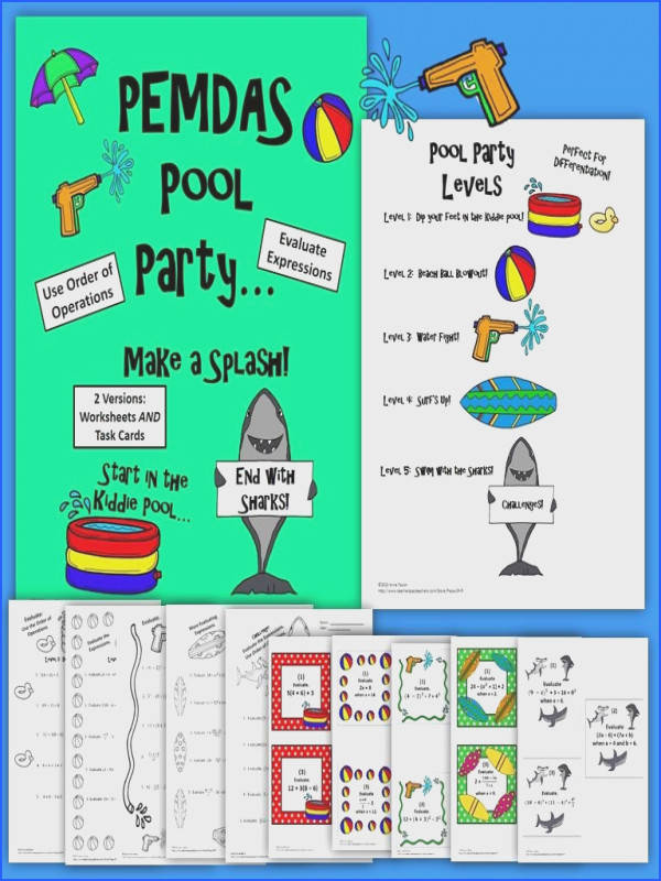 PEMDAS Pool versions Worksheets AND Task Cards Different levels for differentiation perfect for students of all abilities