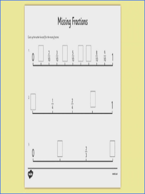 Missing Fractions Number Line Activity Sheet