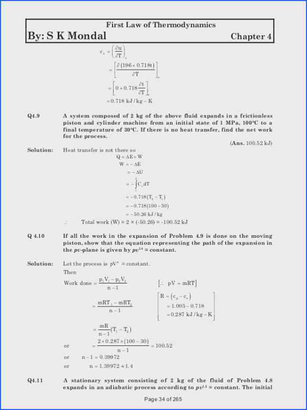 34 First Law of Thermodynamics