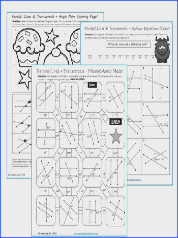PARALLEL LINES and TRANSVERSAL Maze Riddle Coloring Page Fun MATH Activities