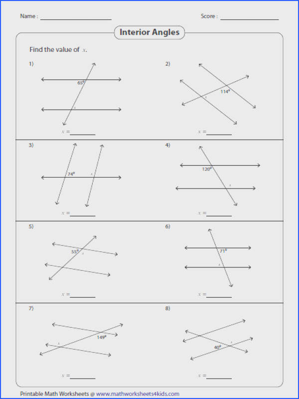 parallel lines and transversals worksheet answers angles formed a transversal worksheets