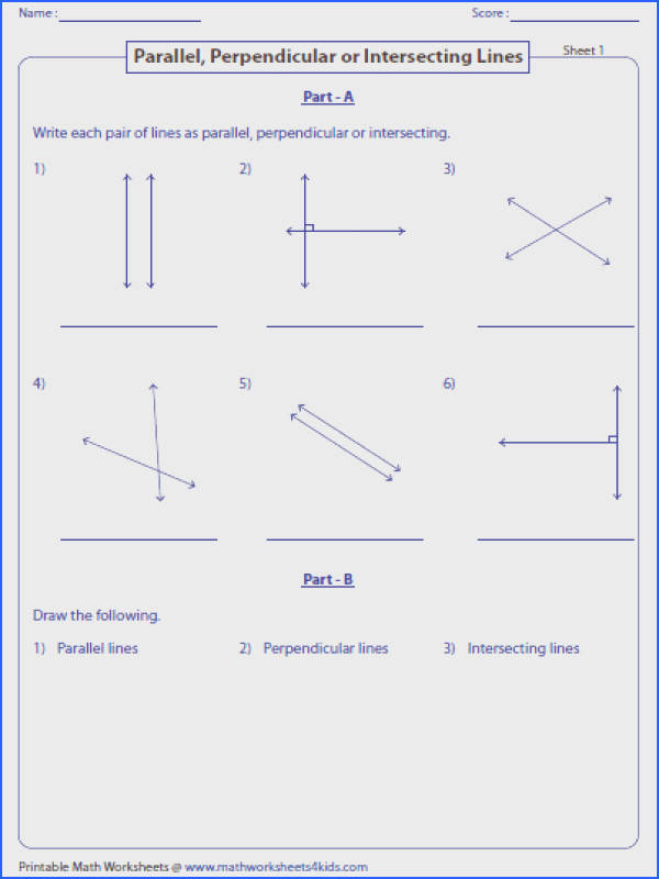 Write parallel perpendicular or intersecting lines