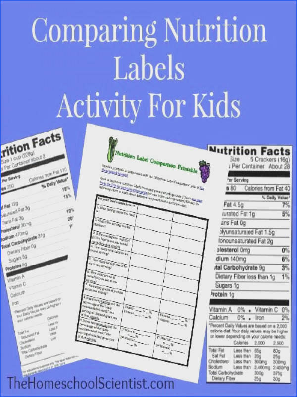 The student is expected to J read and interpret food labels Lesson and printable parison chart to help kids really think about what s in