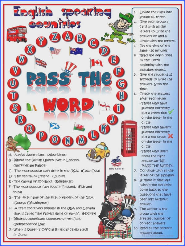 Pass the word English speaking countries quizl