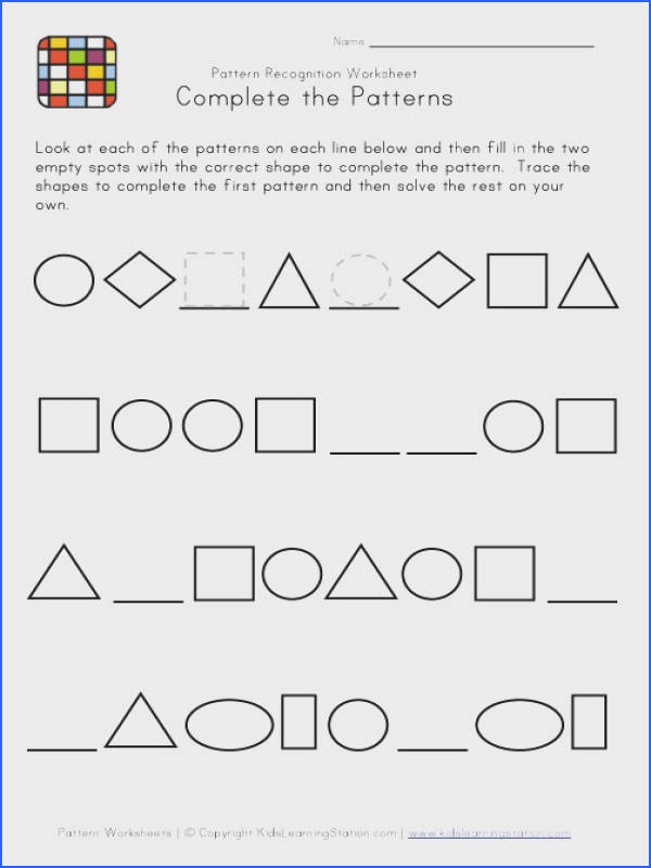 Pattern Worksheets In Worksheets for all Download and Worksheets