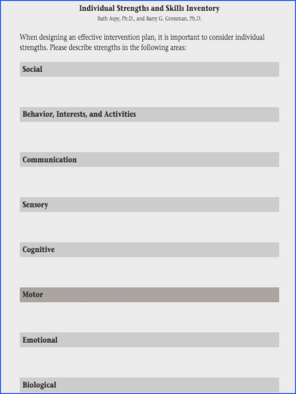 pdf file on Individual Strengths and Skills Inventory worksheet by Ruth Aspy Ph D