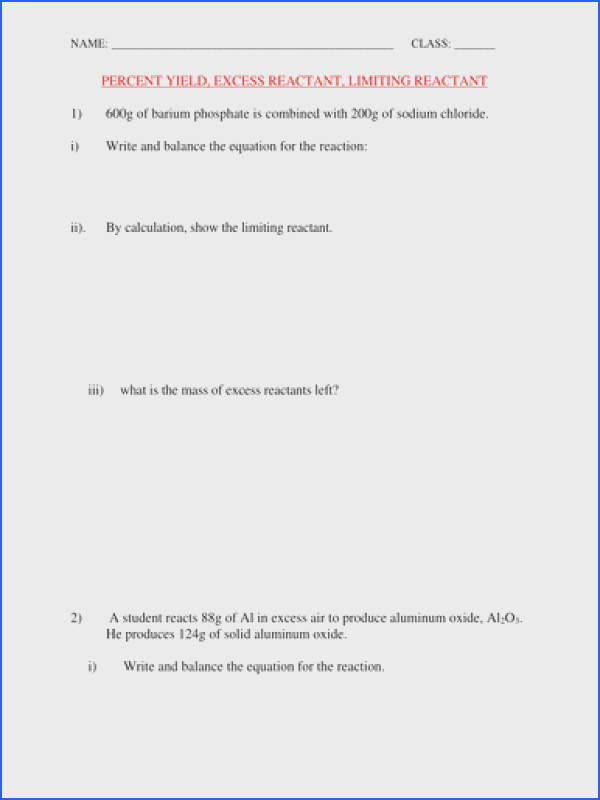 PERCENT YIELD AND LIMITING REACTANT WORKSHEET WITH ANSWERS by kunletosin246 Teaching Resources Tes