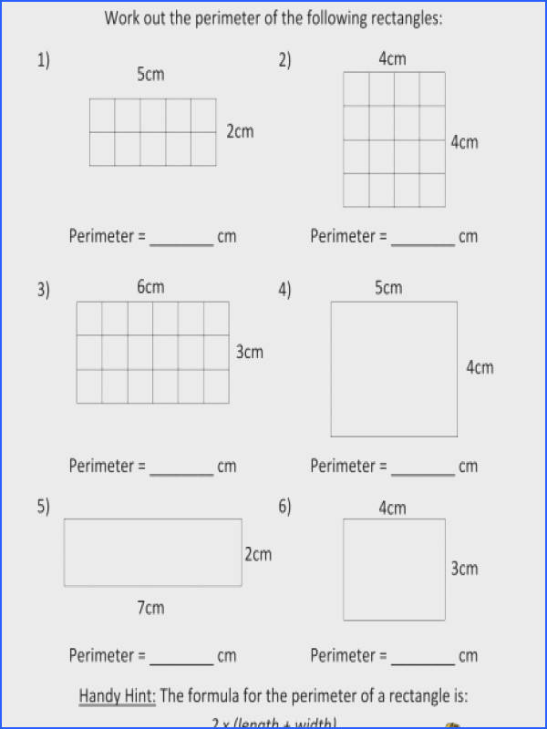 perimeter worksheets maths and area free third grade m a part of under Math Worksheet