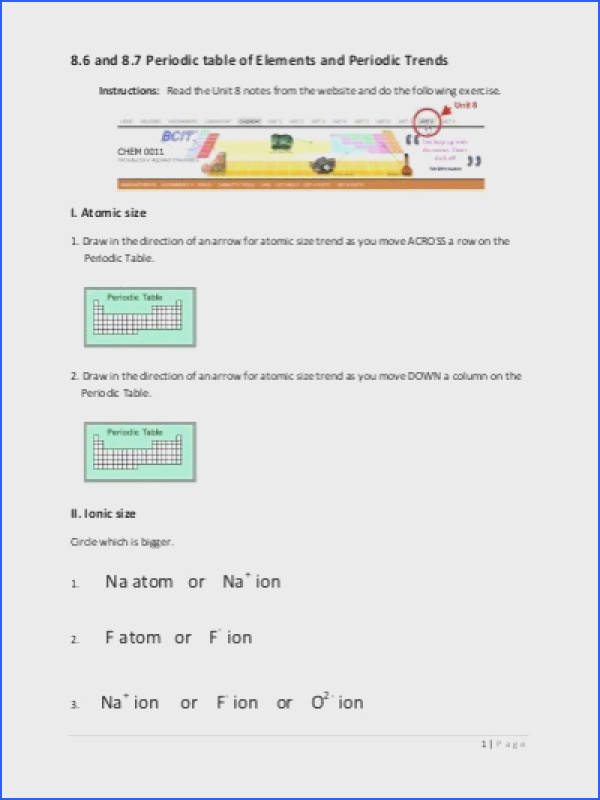 Periodic Table Trends Worksheet Answers Fresh Worksheet 12 Periodic Trends A Number Physical and Chemical