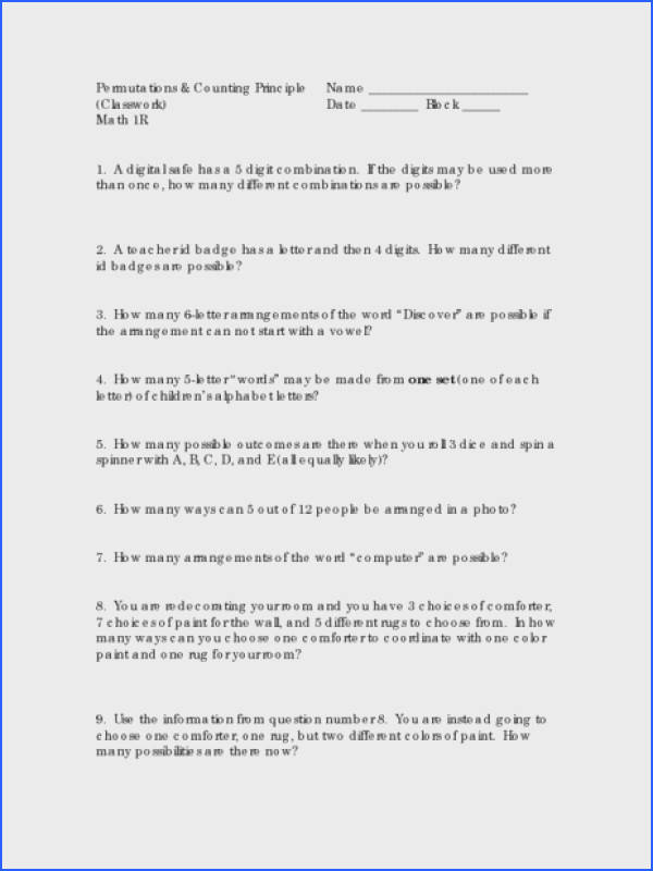 Permutations & Counting Principle Worksheet for 7th 8th Grade