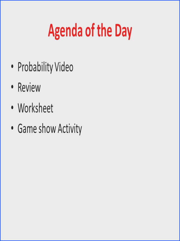 Agenda of the Day Probability Video Review Worksheet